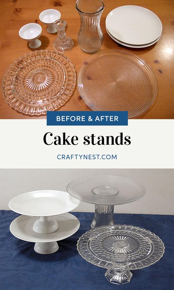 Crafty Nest repurposed cake stands Pinterest photo