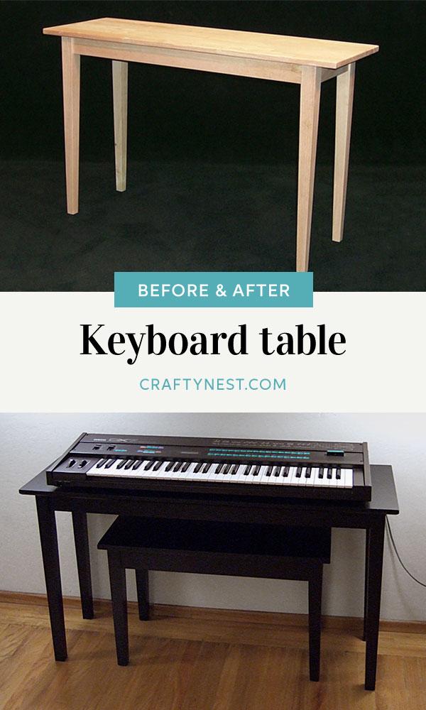 Crafty Nest piano keyboard table Pinterest image