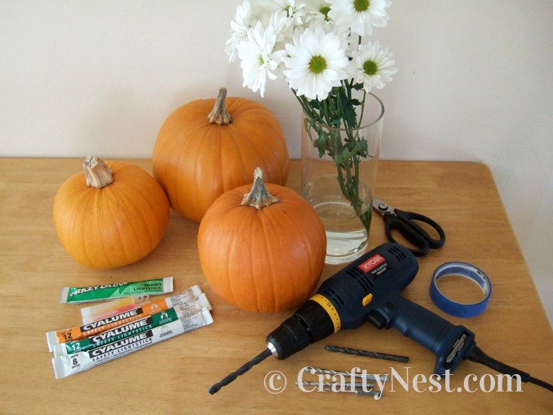 Supplies for carving pumpkins with a drill, photo