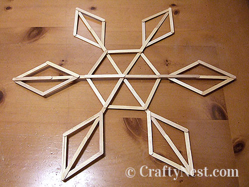 Craft-stick snowflakes step-by-step photo