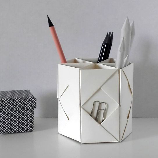 Origami pencil holder, photo