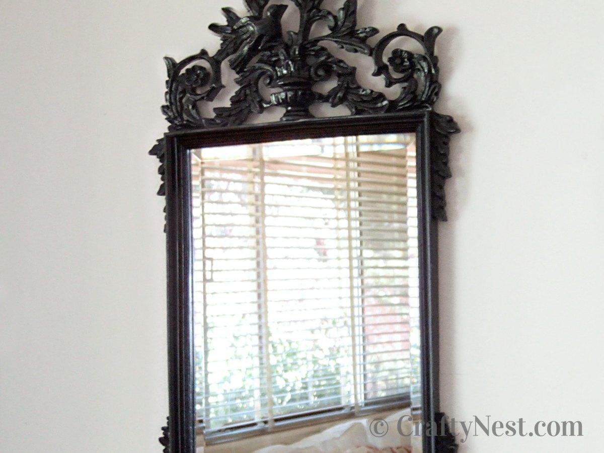 Black painted fancy mirror, photo