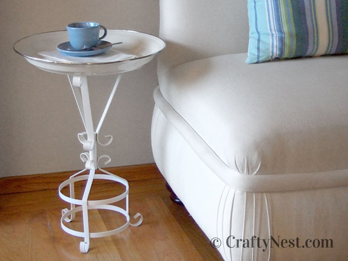 DIY tray table made from a plant stand, photo