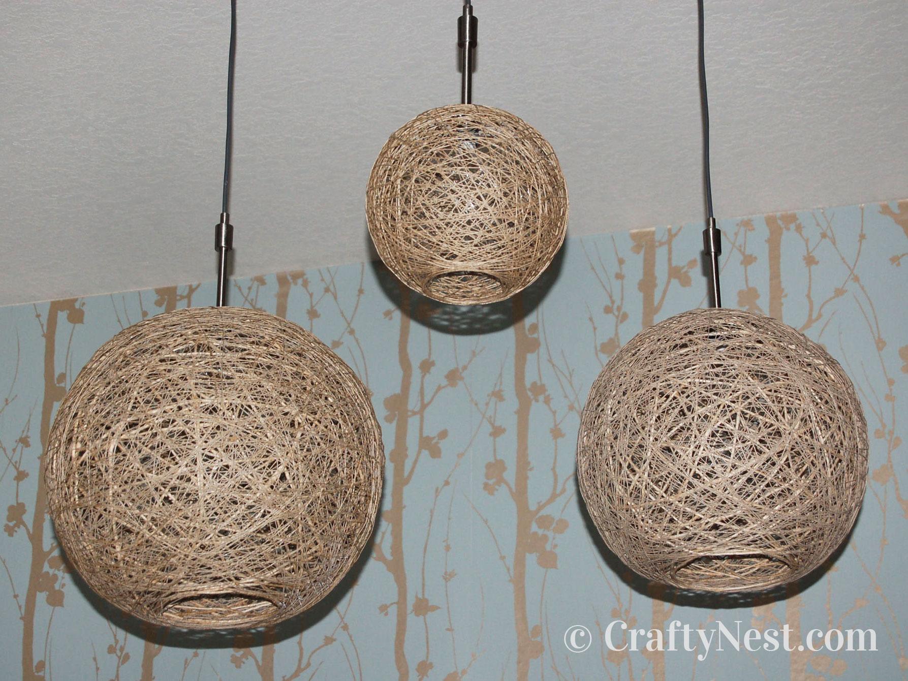 Three handmade hemp string pendant lamps, photo