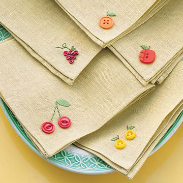 Martha Stewart's fruity button embroidery napkins, photo