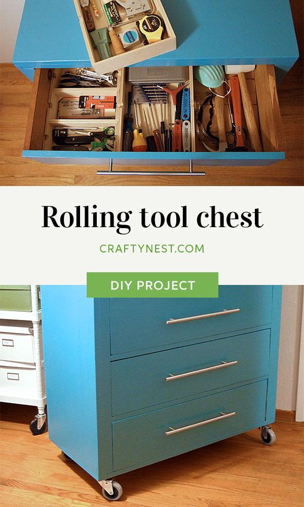 Crafty Nest old dresser rolling tool chest Pinterest image