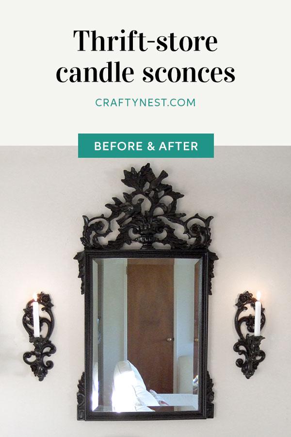 Crafty Nest thrift-store candle sconces Pinterest photo