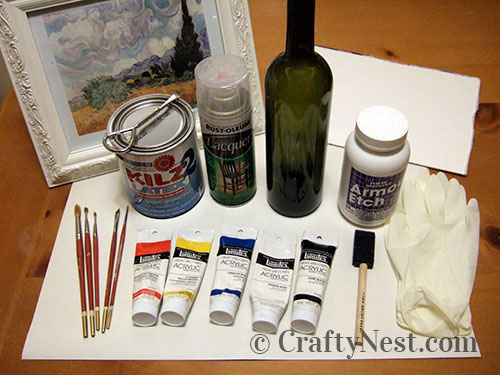 Supplies for painting a Van Gogh on a wine bottle, photo