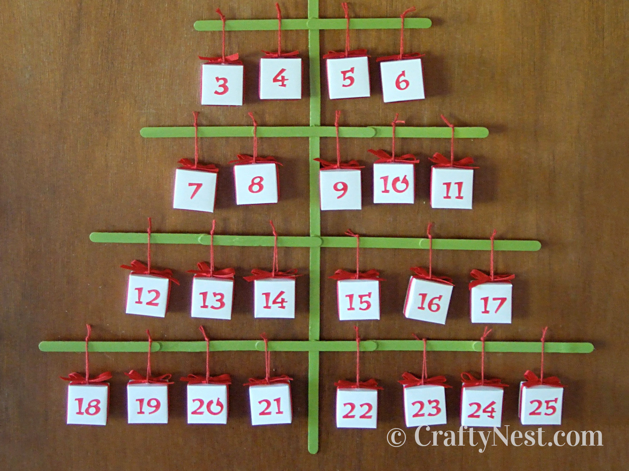 Craft stick Christmas tree advent calendar, photo