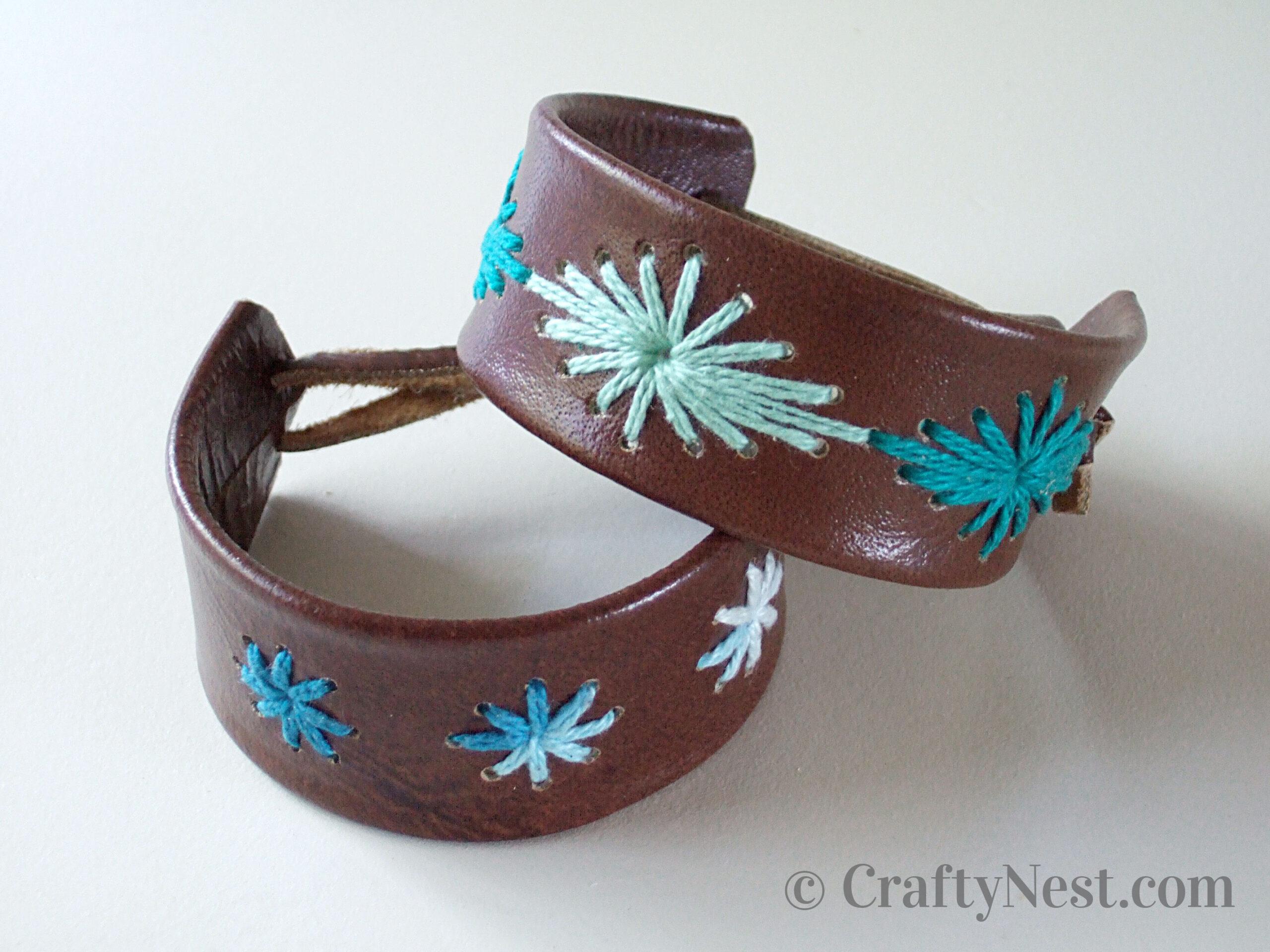 Stitched leather bracelets, photo