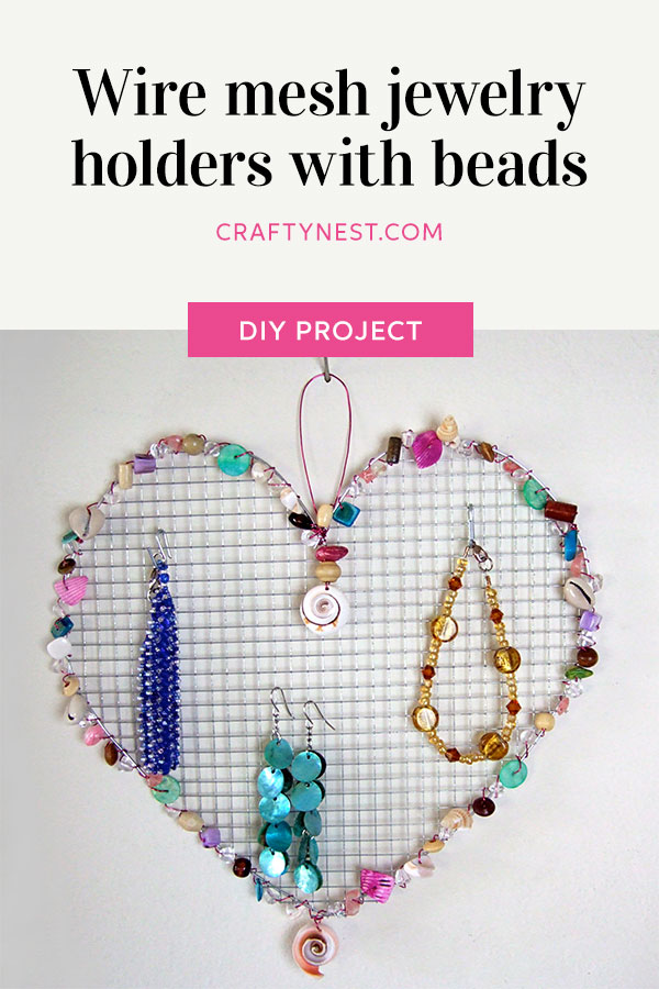 Crafty Nest wire mesh jewelry holders with beads Pinterest image