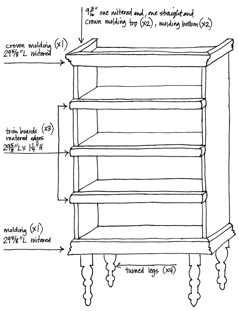Sketch of the bookshelf makeover plans, photo