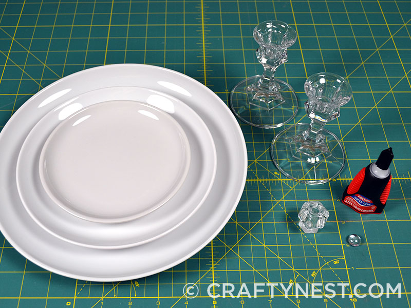 Supplies to make tiered trays, photo