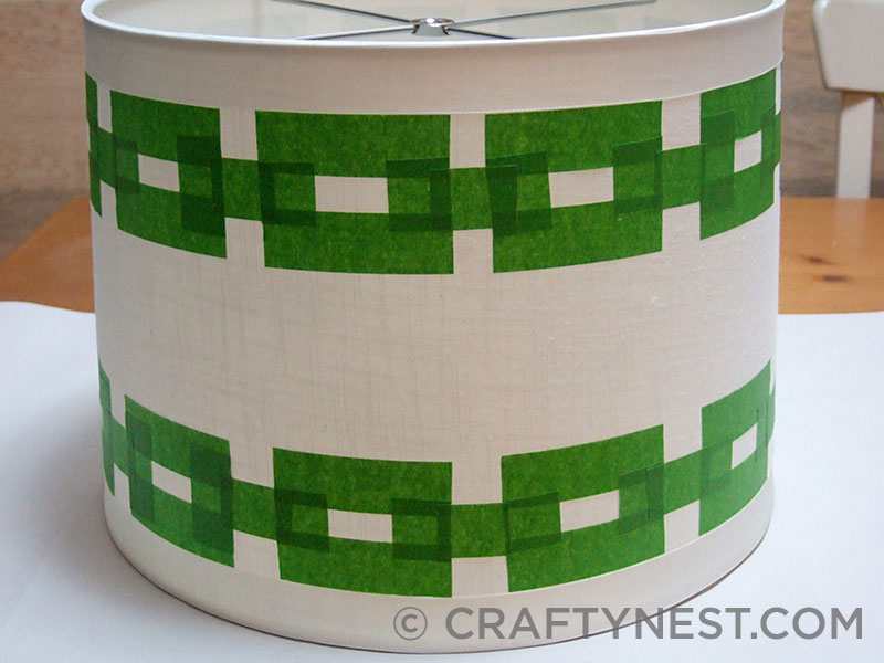 FrogTape pattern on a lampshade, photo