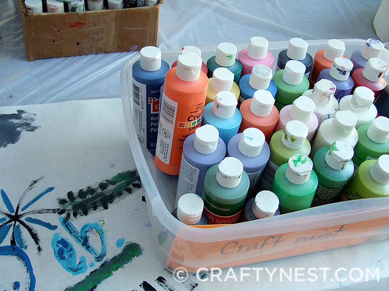 Multicolored craft paints, photo