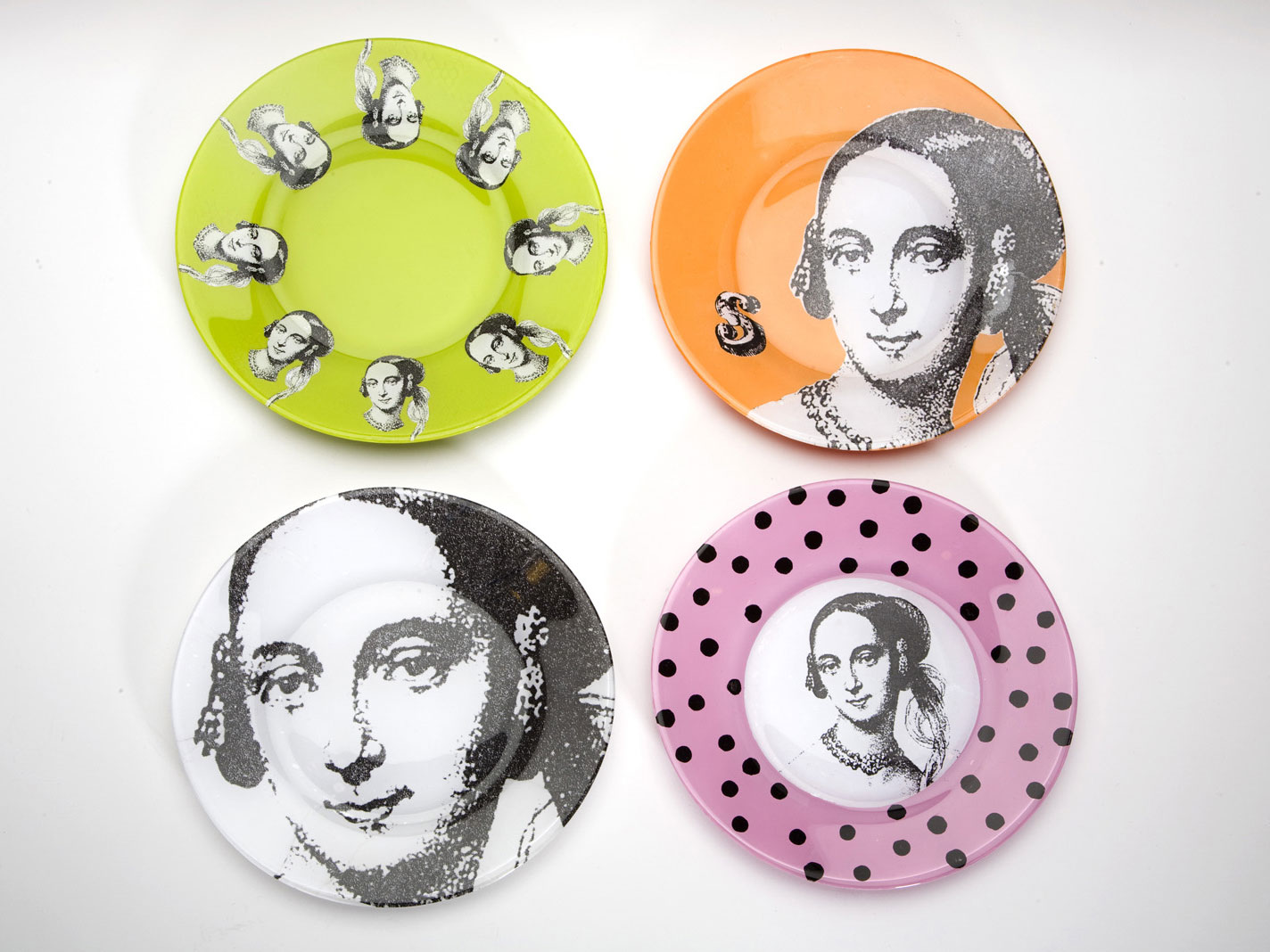 Four decoupaged glass plates, photo