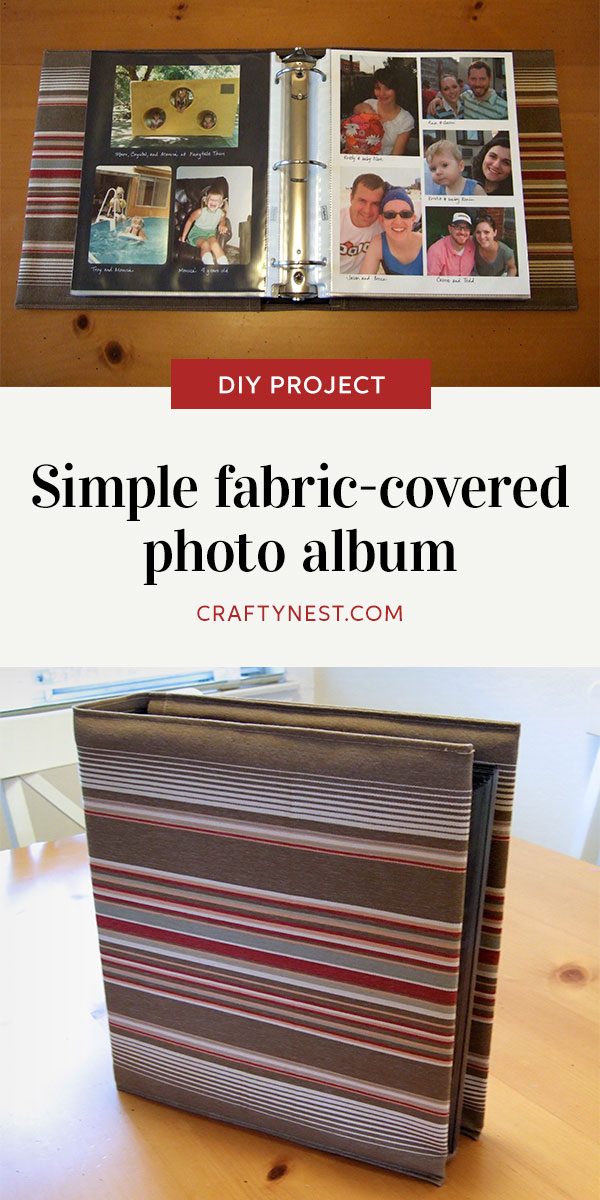 Crafty Nest simple fabric-covered photo album Pinterest image