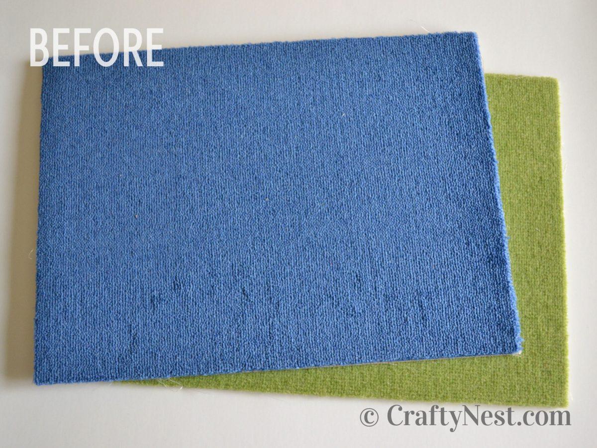 Carpet samples, before photo