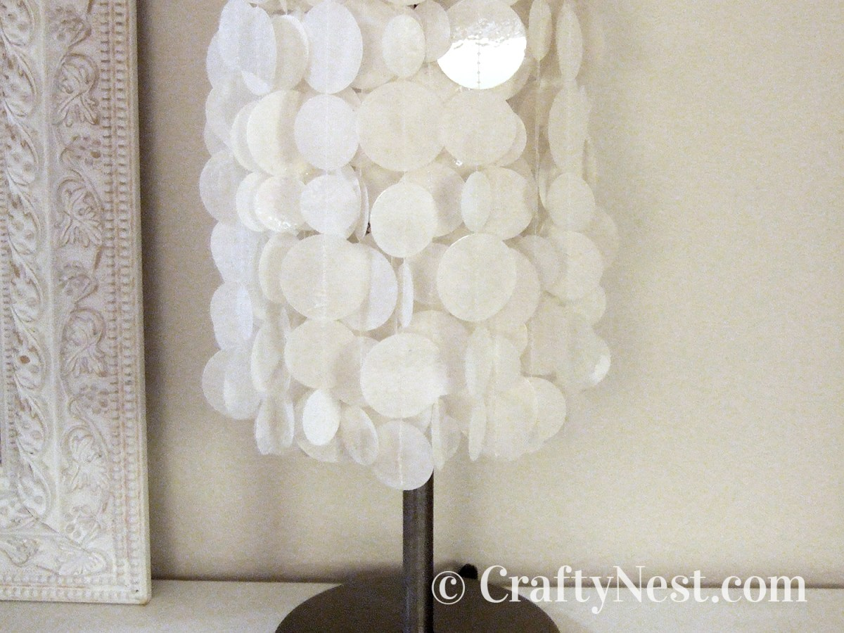 White faux capiz shell lampshade, photo