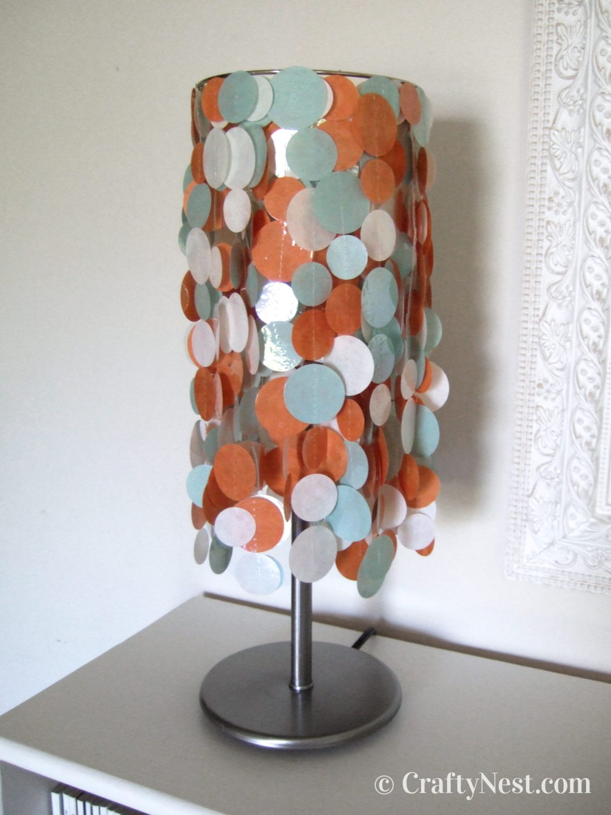 Colorful, funky lampshade with light off, photo