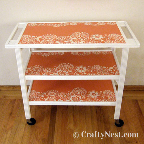 Finished wallpapered cart, photo