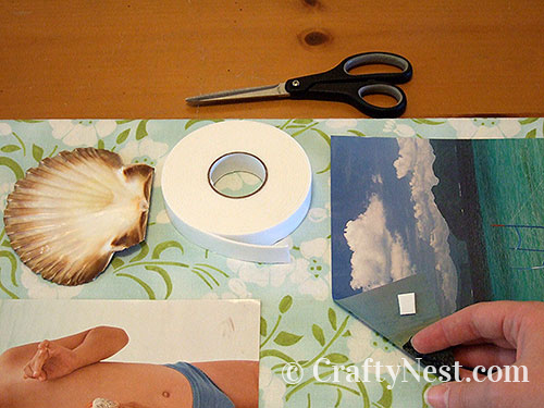 Tape down the pictures & shells, photo