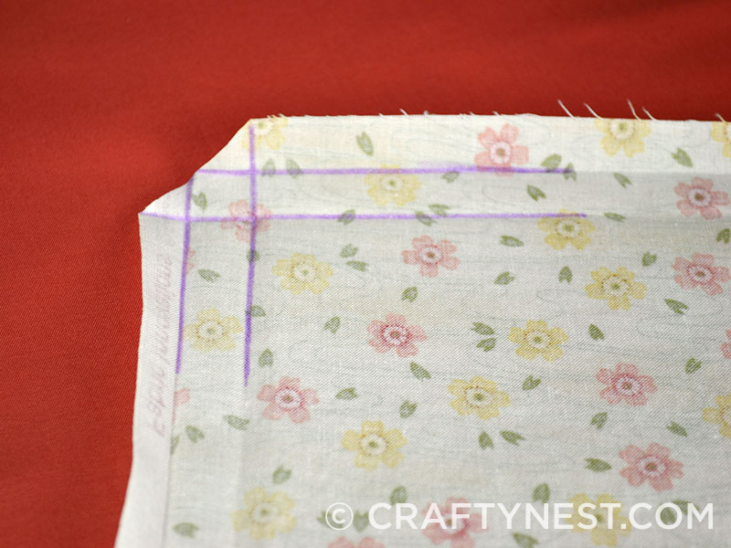 Fold lines marked with a fabric marker, photo