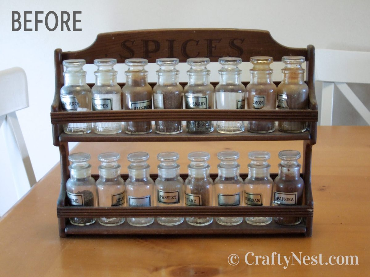 Thrift store spice rack, before photo