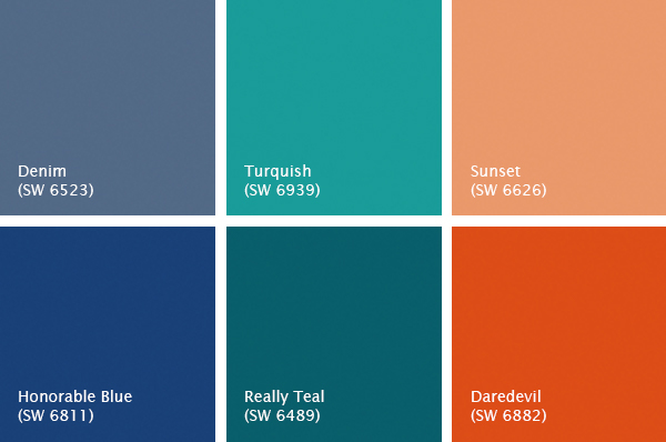 Bright, colorful Sherwin-Williams paint colors, photo