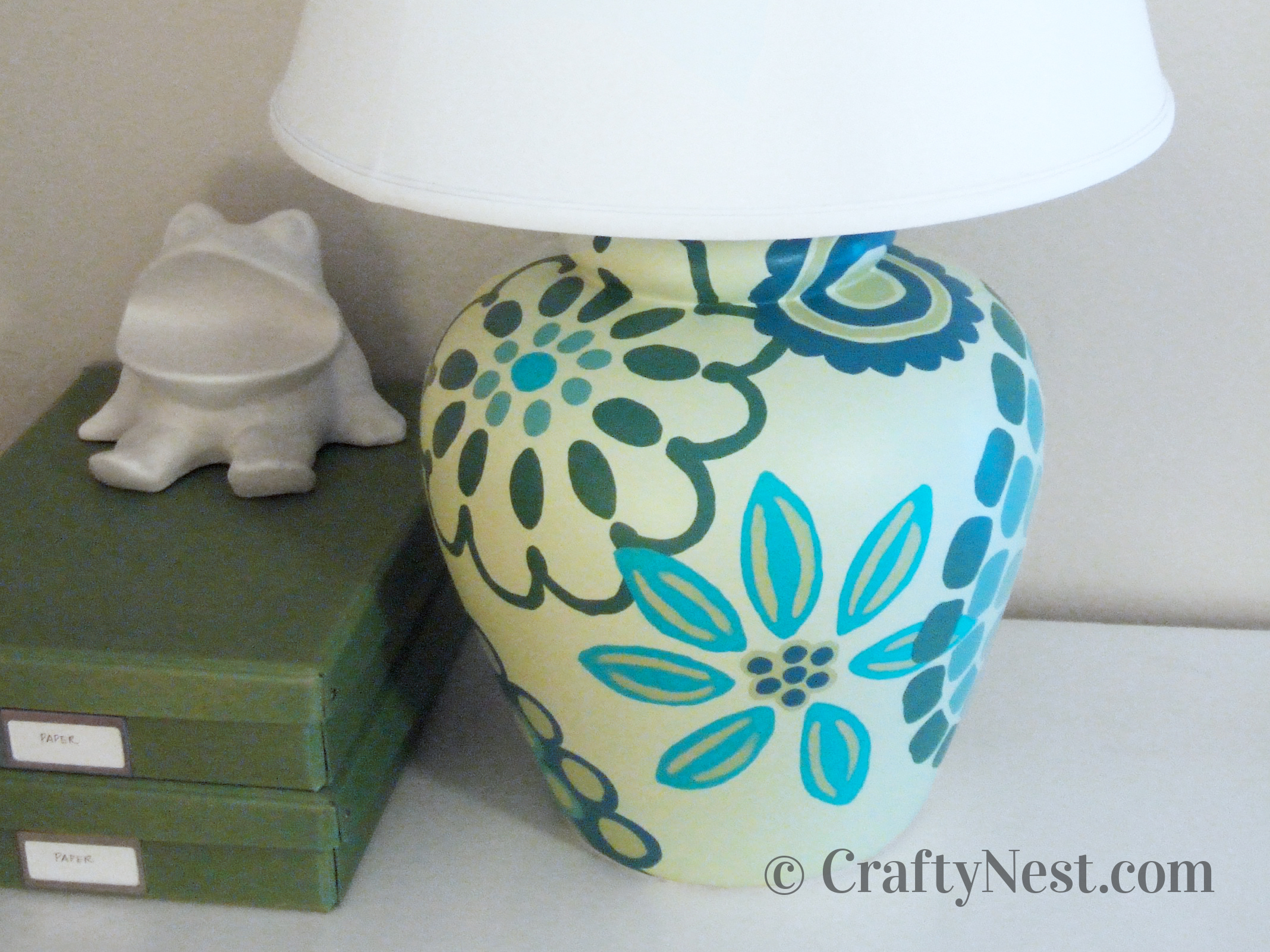 Handpainted table lamp and final, photo