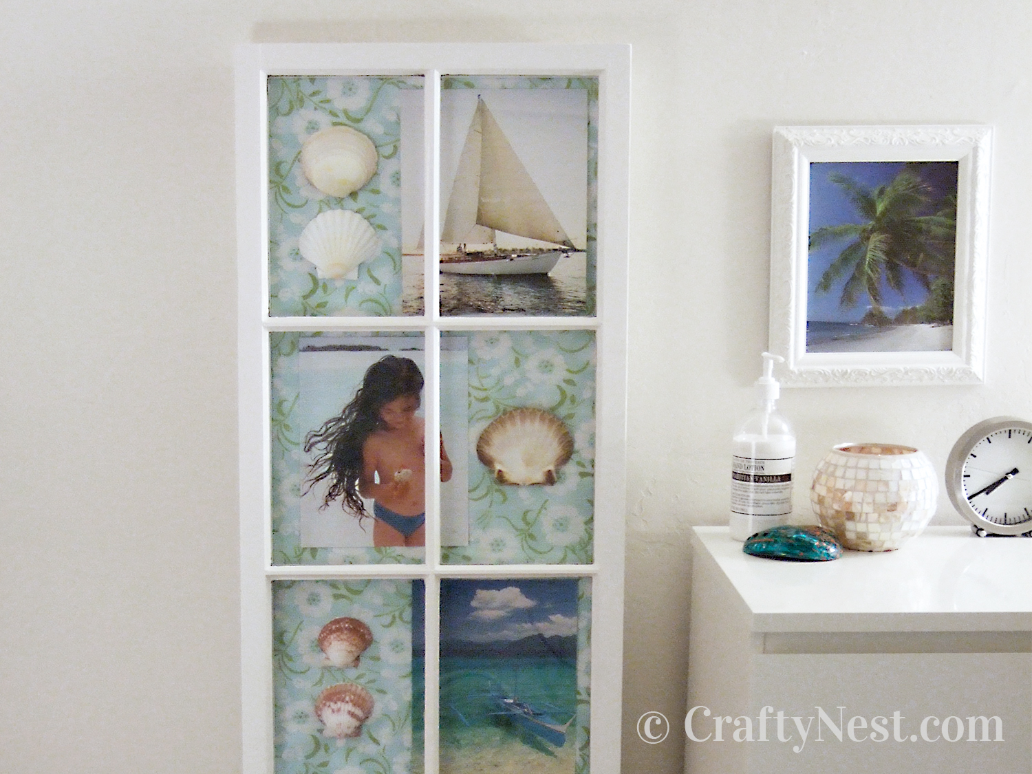 Salvaged window made into a shadowbox, photo