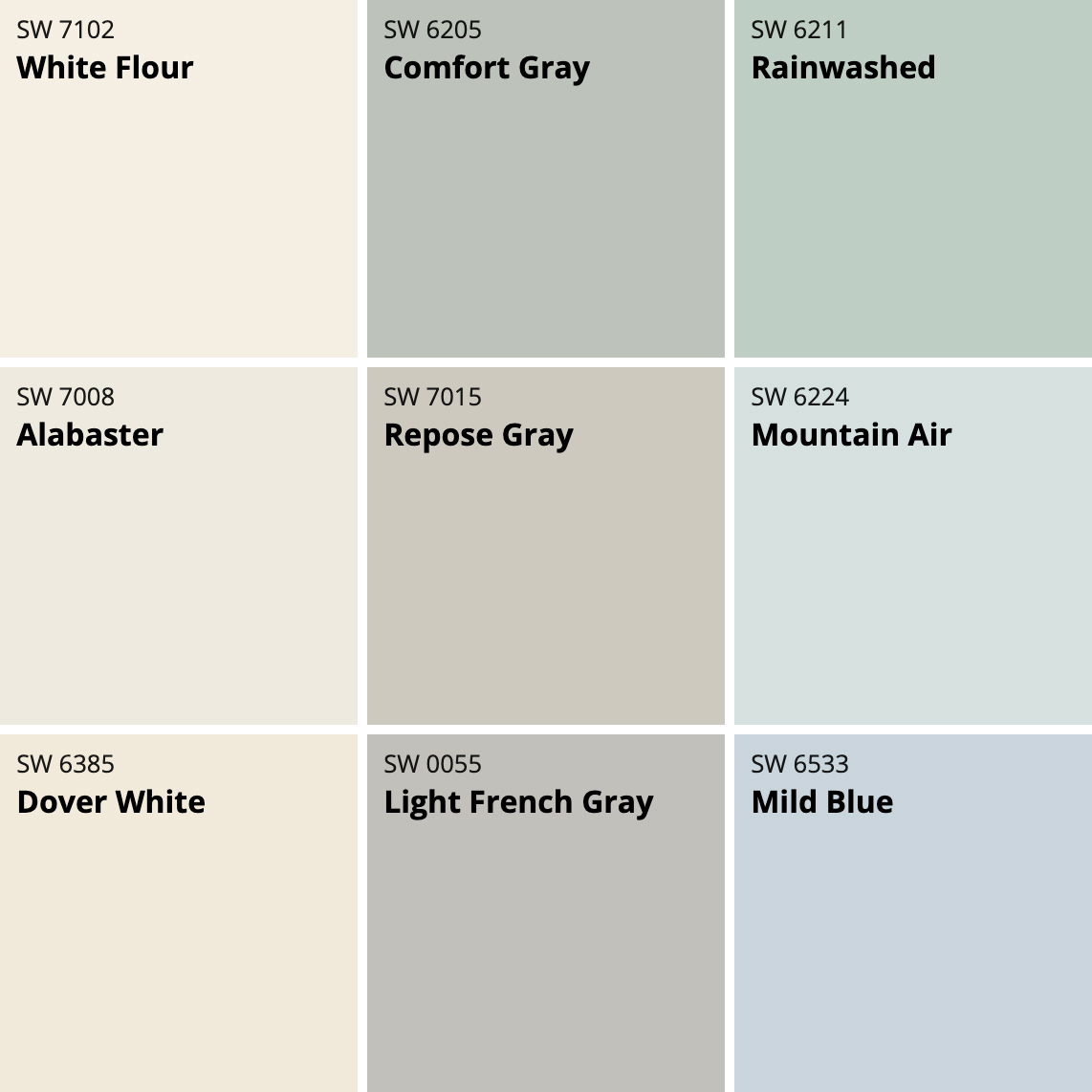 Pale, cool Sherwin-Willimas color palette, photo