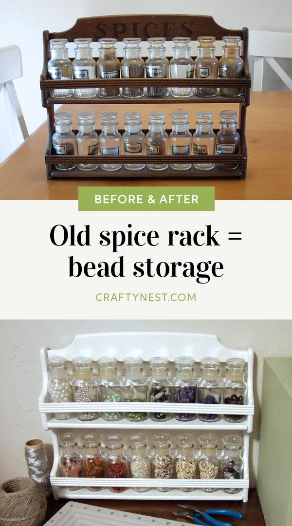 Crafty Nest old spice rack bead storage Pinterest image