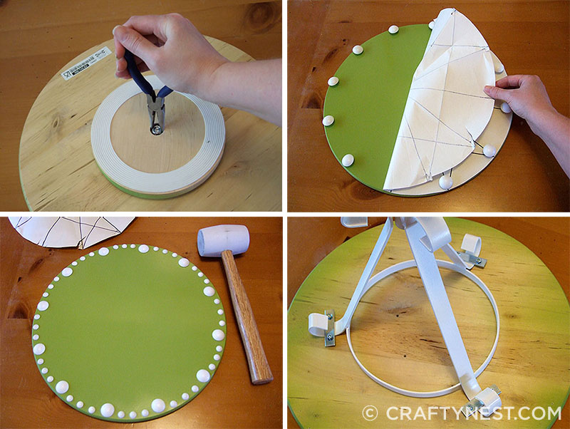 Four step-by-step photos of making a side table
