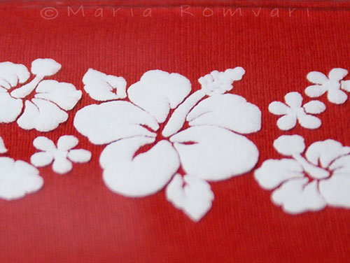 Hibiscus flower pattern on a T-shirt, photo