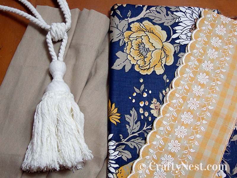 Fabric and tassle used for the makeover, photo