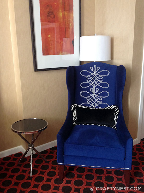 Velvet chair at Hotel Monaco, photo