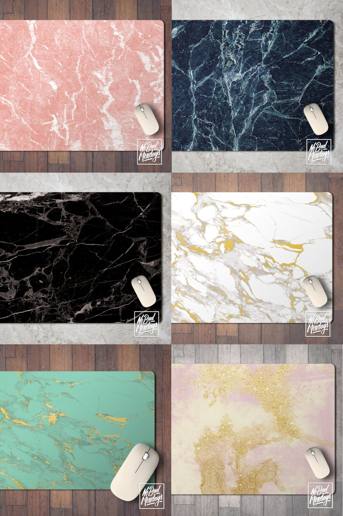 Six marble desk pads, photo