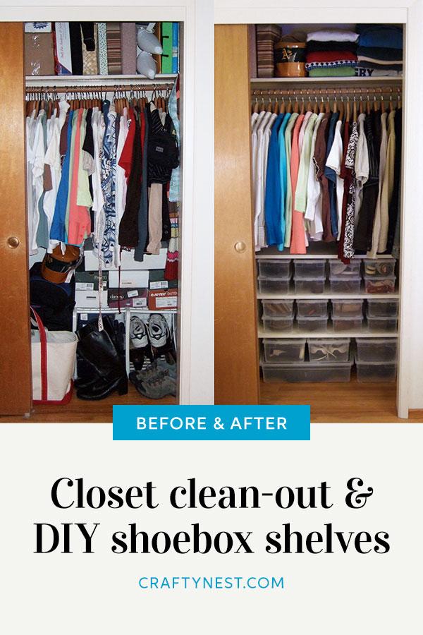Crafty Nest shoebox shelves Pinterest image