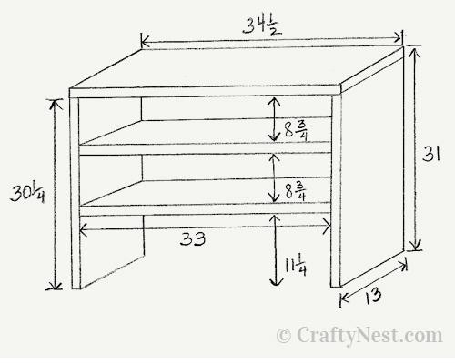 Sketch of the shoebox shelves