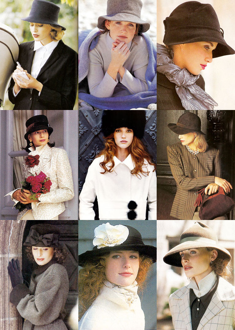 Photos of nine winter hats from Victoria magazine