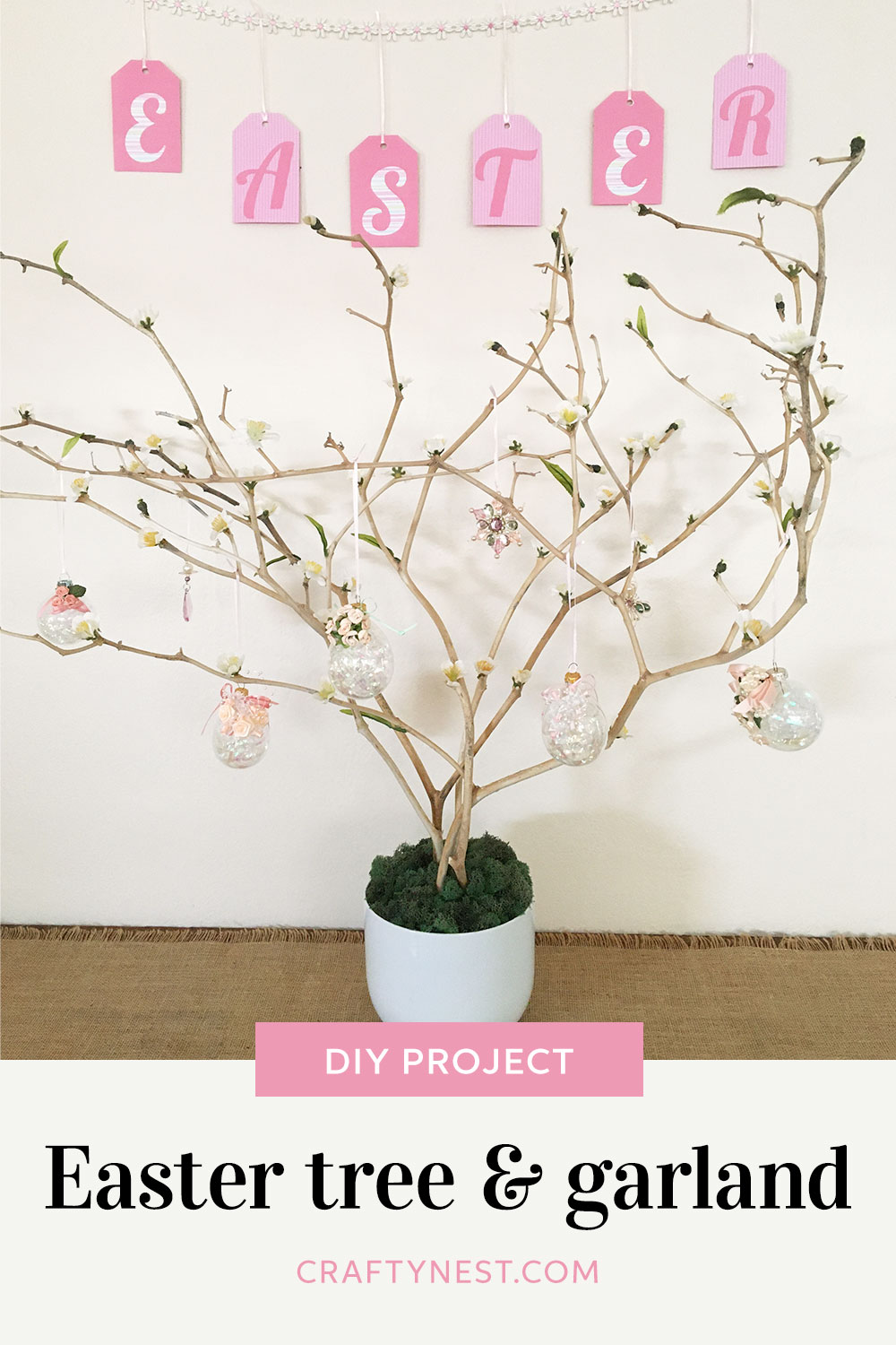 Crafty Nest Easter tree, egg ornaments, and garland Pinterest image