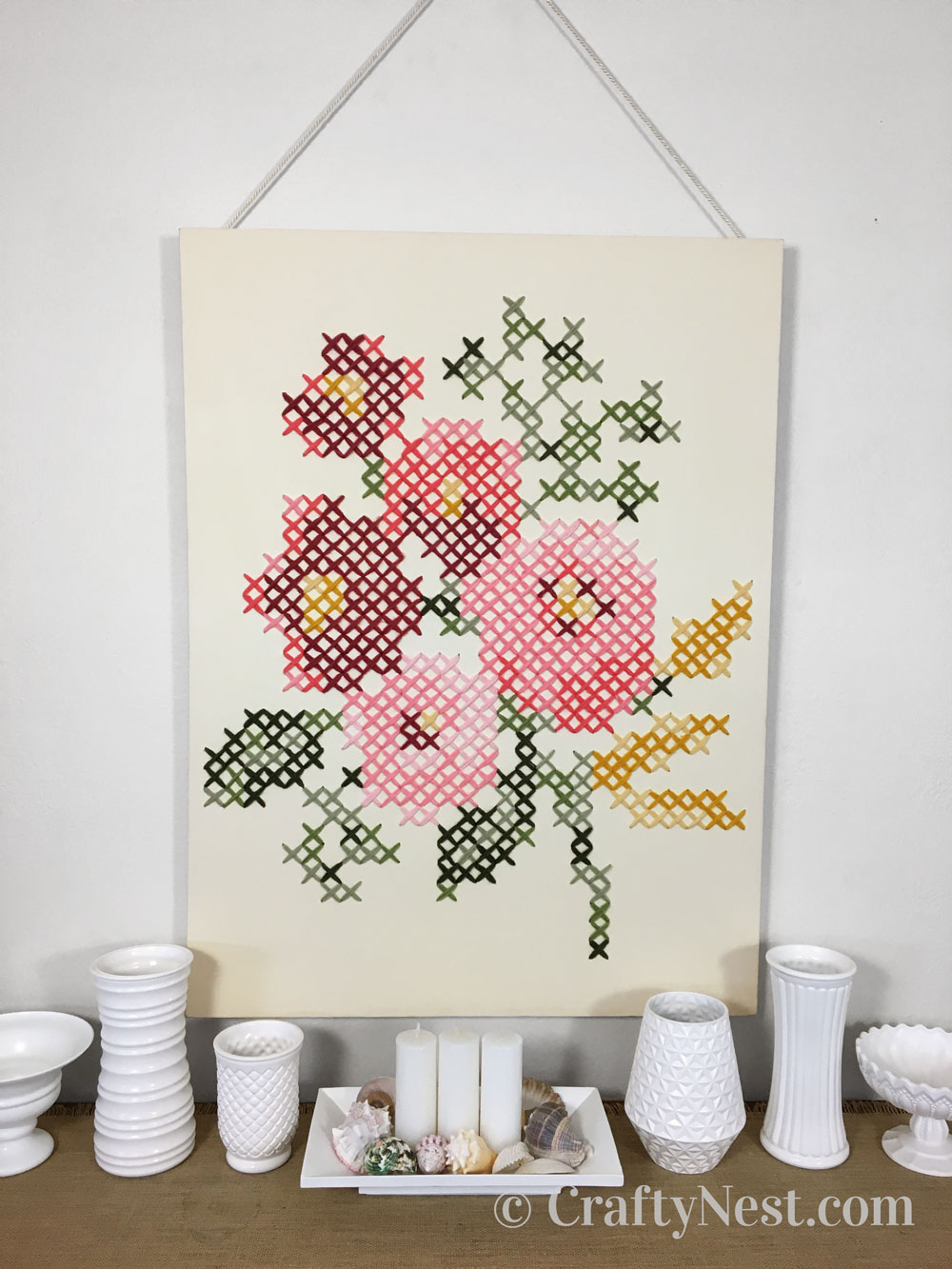 Floral cross-stich on a large canvas, photo