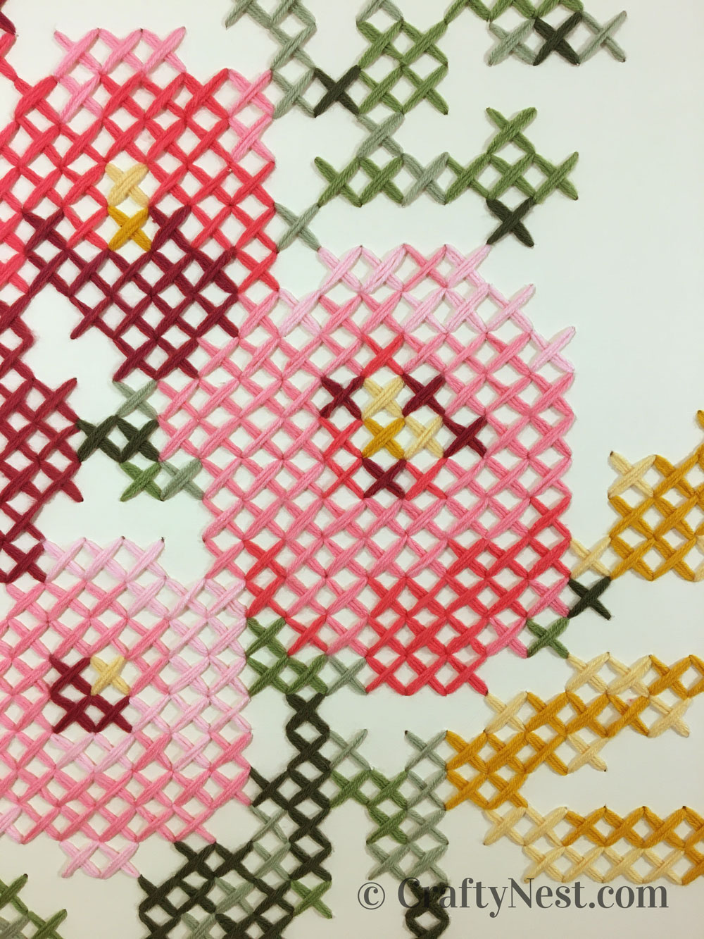 Closup of the cross-stich pattern, photo