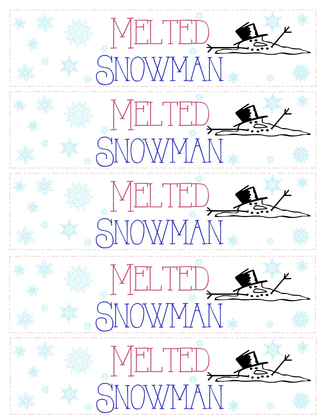 Kids love these melted snowman water bottle labels! Let me help you make the cutest water bottles by downloading this free file I have provided for you. I have included, a PDF, jpeg, and SVG! Feel free to use them however you want.