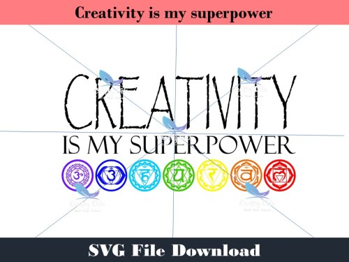 """If you are creative you are in alignment with your true self. You are magical. Creativity is my superpower is the perfect design for you. In your download you will receive an SVG, JPEG, PDF and Stuido3 files, to use on your next creative project, such as a shirt, coffee mug, water bottle, canvas, well pretty much anything you can think of. **How the download works An instant automatic email will be sent to the email address provided, just click on the link provided below the word """"DOWNLOAD"""" and the file will automatically load to your device. If you do not see the email in a few minutes, please check your SPAM and/or PROMOTIONAL email folders. As always you are welcome to email me at jessica.nay@craftyoils.com If you would like to use it commercially (anything over 100 uses)please email Jessica at jessica.nay@craftyoils.com for permission."""