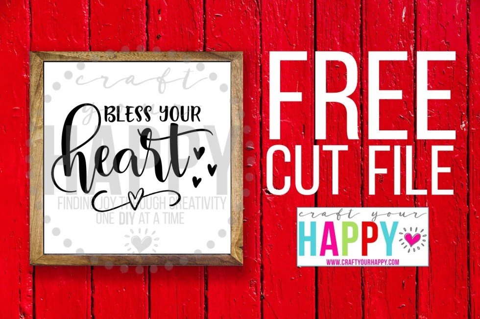 Free Valentine SVG Cut File: Bless Your Heart
