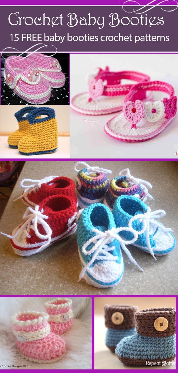 Free Crochet baby booties Pattern