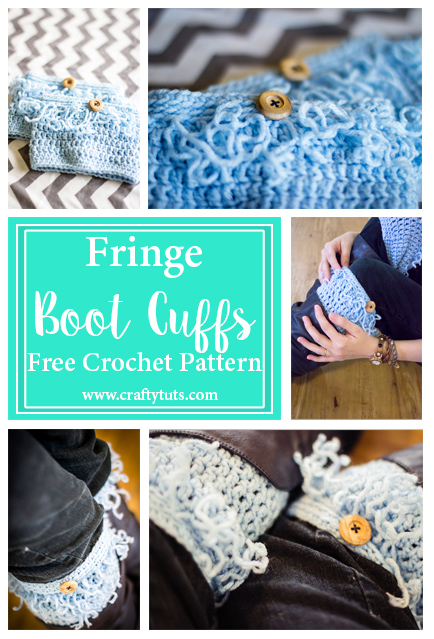 Fringe Boot Cuffs Free Crochet Pattern. Free crochet pattern to make fringe boot cuffs or boot toppers. Quick and easy gift.