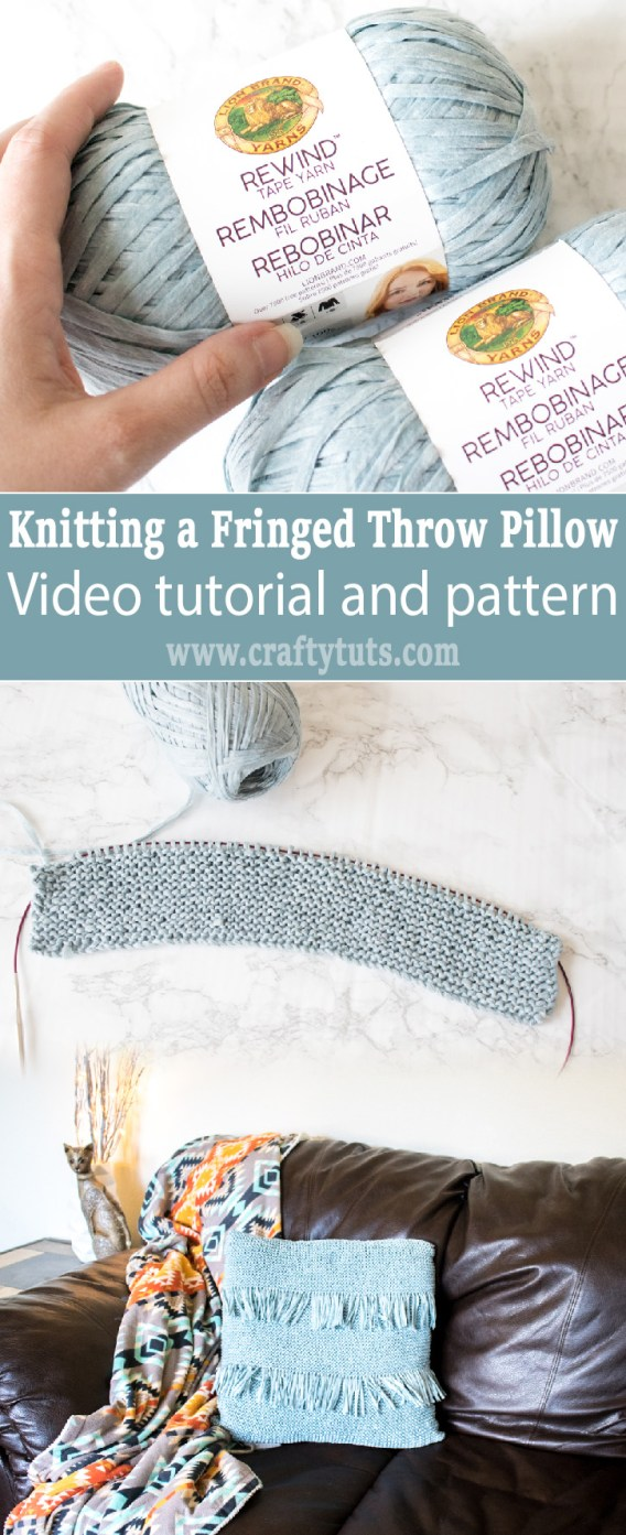 Knit Fringed Throw Pillow Video Tutorial: With this video tutorial I will show you how to make a knitted throw pillow with fringe.